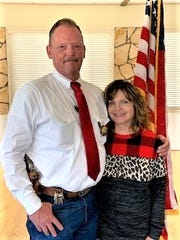 Lincoln County Undersheriff Mike Wood spoke to Republican women about most significant crime threats in the area. Wood is pictured with his wife, Teri.