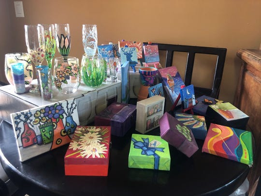 Some of the projects created at Jana's workshops include wine glasses. The Art Cave is open from 2 p.m. to 8 p.m., every Sunday, 204 Porr Drive, Ruidoso.