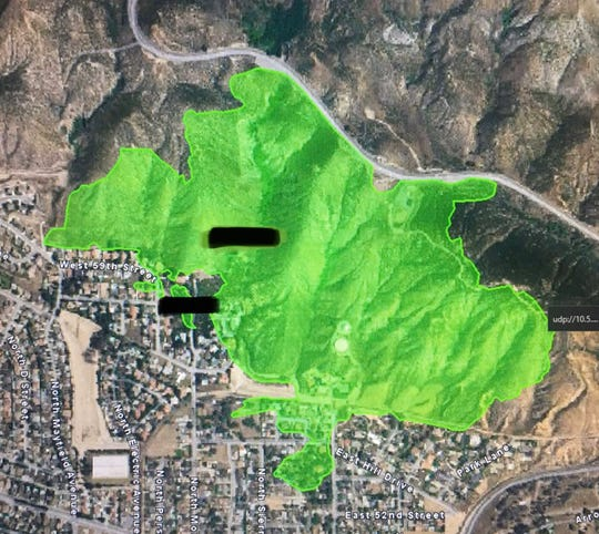This map shows the area of the Hillside Fire near San Bernardino Thursday, Oct. 31, 2019.