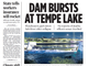 The front page of July 21, 2010 edition of The Arizona Republic after one of the lake's rubber dams burst.