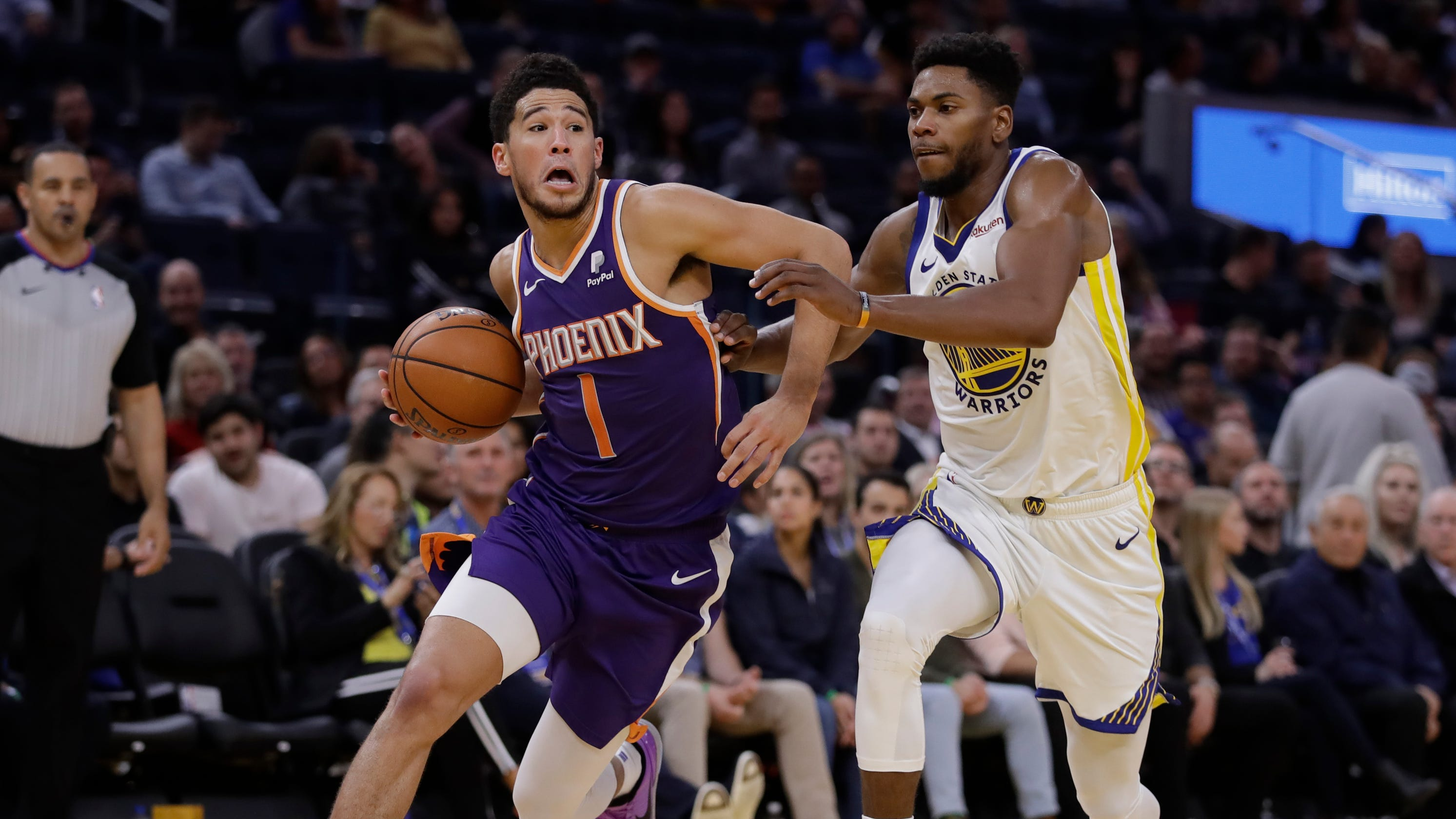 Image result for devin booker vs warriors 2019