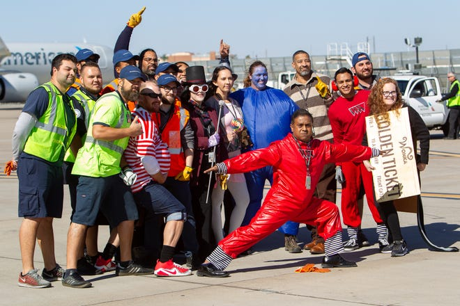 "Some Jet Pull teams wore themed costumes, like team ""Oompa Loompa,"" Thursday, Oct. 31, 2019."