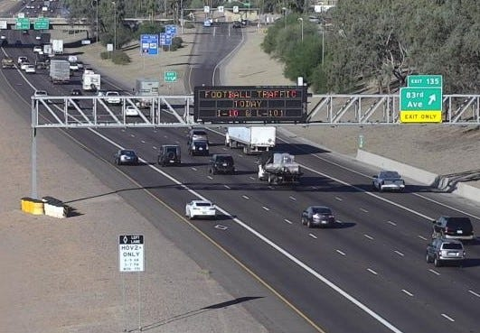 Football traffic is expected along I-10 and the Loop 101 on Oct. 31, 2018.