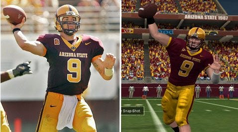 A photo of former ASU quarterback Sam Keller and his likeness in an EA video game.