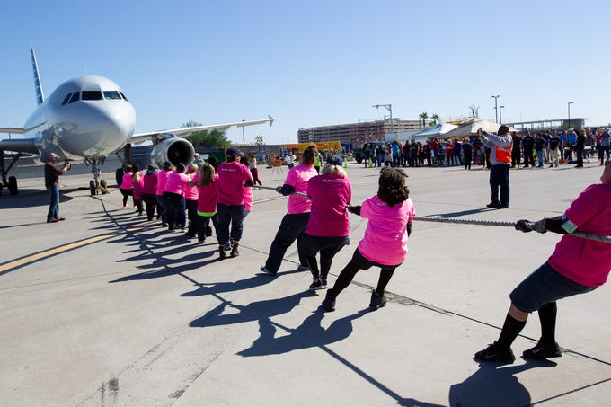 """The """"Fly Girls,"""" pulled the jet in 8.76 seconds at the Jet Pull, Thursday, Oct. 31, 2019."""