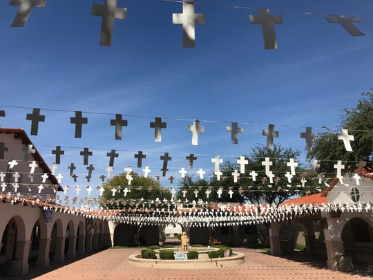 The courtyard of St. Andrew the Apostle in Chandler on Oct. 16, 2019.