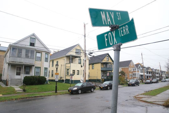 """The intersection of Fox Terrace and May Street in the City of Poughkeepsie on October 31, 2019. The City of Poughkeepsie is initiating a program called """"Safe Passage Home"""" to target locations  around the city where students congregate after school and provide encouragement for them to disperse and get home safely."""