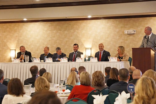 Franklin County's state lawmakers participated in a panel discussion at the Greater Chambersburg Chamber of Commerce's annual legislative breakfast on Thursday, Oct. 31, 2019 at The Orchards. Pictured are, from left: Rep. Jesse Topper (R-78), Rep. Paul Schemel (R-90), Rep. Rob Kauffman (R-89), Rep. John Hershey (R-82), Sen. Doug Mastriano (R-33), Sen. Judy Ward (R-30), and Gene Barr, the president and CEO of Pennsylvania Chamber of Business and Industry.