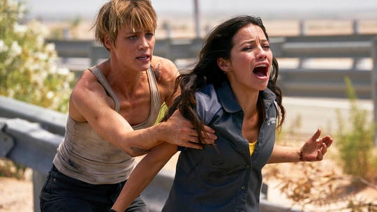 "Natalia Reyes, right, and Mackenzie Davis star in ""Terminator: Dark Fate."" The movie is playing at Regal West Manchester, Frank Theatres Queensgate Stadium 13 and R/C Hanover Movies."