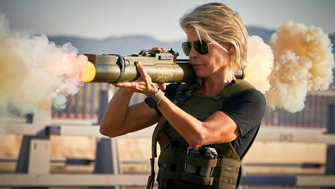 """Linda Hamilton stars in """"Terminator: Dark Fate."""" The movie is playing at Regal West Manchester, Frank Theatres Queensgate Stadium 13 and R/C Hanover Movies."""