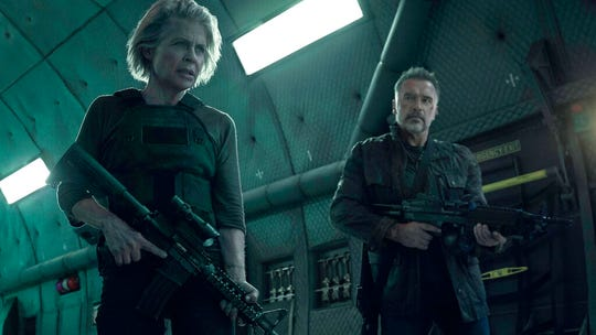 "Linda Hamilton, left, and Arnold Schwarzenegger appear in ""Terminator: Dark Fate."" The movie is playing at Regal West Manchester, Frank Theatres Queensgate Stadium 13 and R/C Hanover Movies."