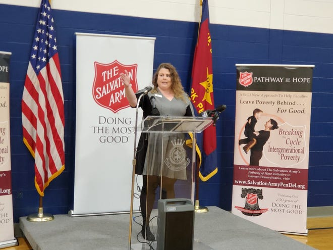 Melissa Gross, graduate of the Pathway to Hope program, spoke Thursday, Oct. 31, about how the program helped her family.