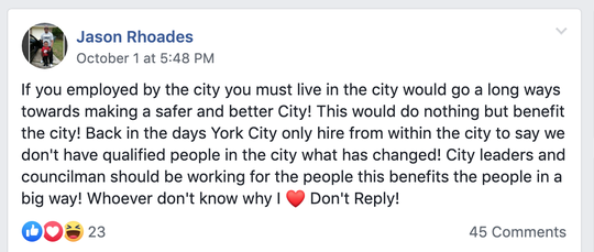 Screenshot of Jason Rhoades October post in Fixing York PA Facebook page.