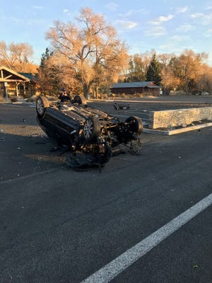 A photo taken Thursday, Oct. 31, 2019, showing the scene of a crash on Washoe Drive and Alternate U.S. 395. The driver reportedly crashed into multiple power poles in the area.