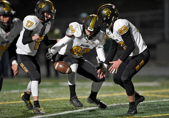 Galena looks to pick up a dropped punt from Bishop Manogue late in the first half of Monday's game at Bishop Manogue.