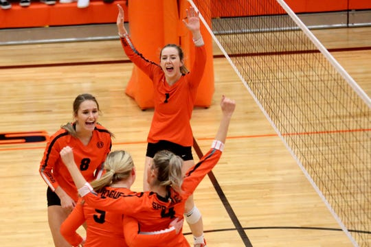 Sprague celebrates a play in the Glencoe vs. Sprague OSAA Class 6A first round of the state playoffs volleyball match at Sprague High School in Salem on Oct. 30, 2019. Sprague won in three sets.