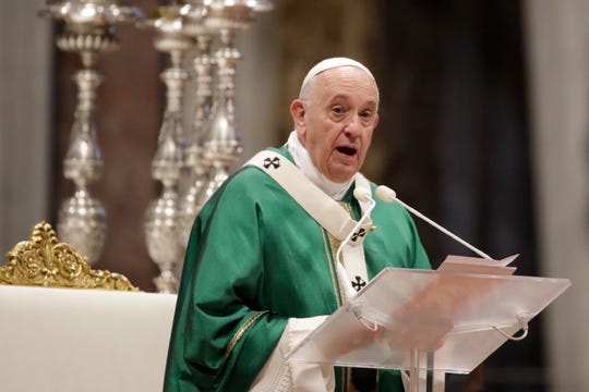 Pope Francis delivers his speech during a Mass for the closing of Amazon synod in St. Peter's Basilica at the Vatican, Sunday, Oct. 27, 2019. Recent discussions about allowing married men to be ordained in remote Amazon areas with severe shortages of priests would change centuries of priestly celibacy in the Roman Catholic Church.