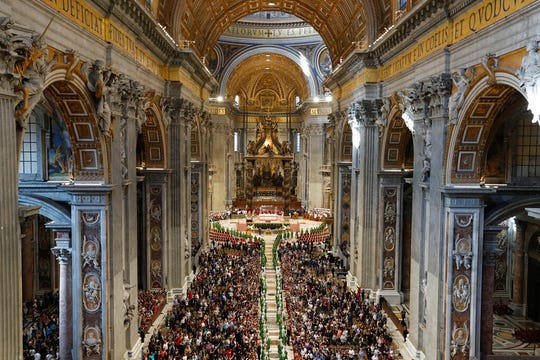 Pope Francis presides over a Mass for the closing of the Amazon synod in St. Peter's Basilica at the Vatican, Sunday, Oct. 27, 2019.