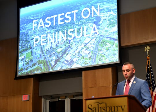 Mayor Jake Day boasted a lot of progress, including some of the fastest growth on the Eastern Shore, during his State of the City Address at Salisbury University in Salisbury, Maryland, on Oct. 30, 2019.