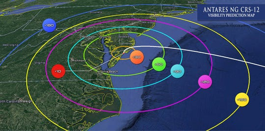 The numerical values in each colored circle indicate the time (in seconds) after liftoff. This value can be used to determine when the rocket becomes visible within the associated colored region. Viewing availability is based on clear weather conditions.