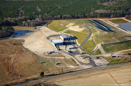 An aerial view of the closed landfill and the transfer station in Bobtown, Virginia in Accomack County.
