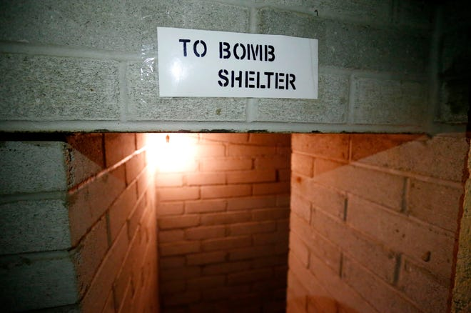 The entrance to a bomb shelter believed to have been built in the late 1950s or early 1960s in the basement of a house at 1235 E. Walnut St. in Springfield, Mo.