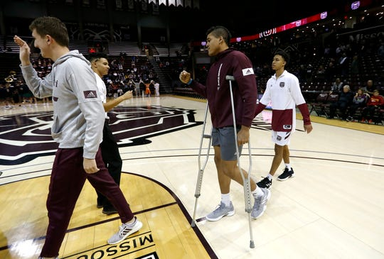 Missouri State junior Gaige Prim was out with an injury during the Bears exhibition game vs the Washington University Bears on Wednesday, Oct. 30, 2019.