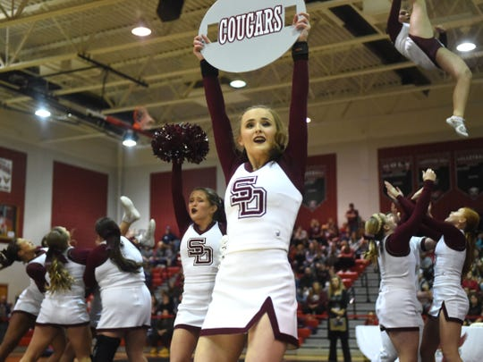 The Stuarts Draft cheer team performs in the Region 2B tournament Wednesday at East Rockingham High School.