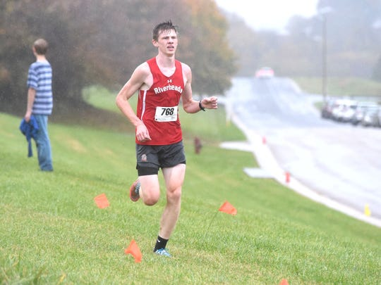 Riverheads' Clay Kelly won the boys meet at Wednesday's Shenandoah District cross country championship.