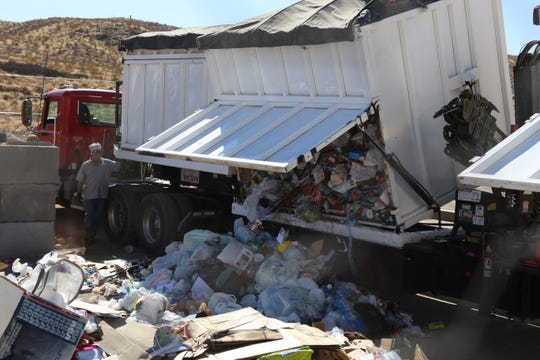 Recyclables collected from Washington County binnies are dumped at the transload station on Oct. 31, 2019.