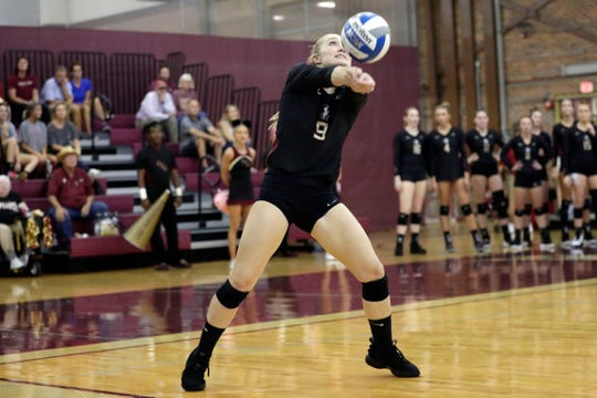 Florida State Seminoles defensive specialist Madison Sullivan (9) passes the ball. The Seminoles beat the Miami Hurricanes after a hard fought four set game on Wednesday, Oct. 30, 2019.