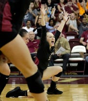 Florida State Seminoles defensive specialist Madison Sullivan (9) cheers as she celebrates a point. The Seminoles beat the Miami Hurricanes after a hard fought four set game on Wednesday, Oct. 30, 2019.