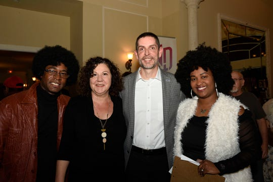 "Strather DuPree, left, Tonya Andreacchio, Sean Boyle and Sonia DuPree at the END It! Mystery Dinner Theater fundraiser ""The Last Groove Goes Platinum"" at Santa Lucia River Club at Ballantrae on Oct. 19, 2019."