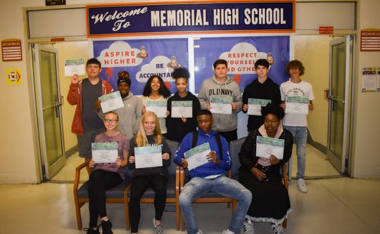 Millville Memorial High School's Students of the Month for September are: (Front row, from left) Gabrielle Wheatly, Taylor Whitaker, Derrick Ennals and Anazja Bunton; and (back row, from left) Colby Schmitt, Dimia Donaldson, Alexia Mendez, Nariyah Robertson, Austin Davis, Ryan Baganski and Joe Reed. Sarah Gonzalez is not pictured.