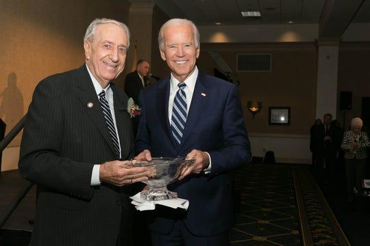 Former Congressman William J. Hughes (left) in 2017 with then Vice President Joseph Biden. Hughes received a Lifetime Achievement Award.