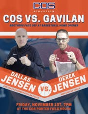 A promotional ad for the COS men's basketball season opener against Gavilan College.