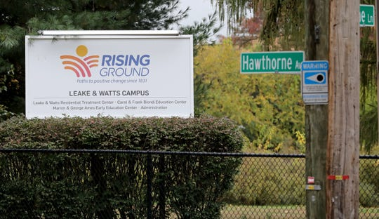 The sign for the Rising Ground campus on Hawthorne Avenue in Yonkers, photographed Oct. 31, 2019.