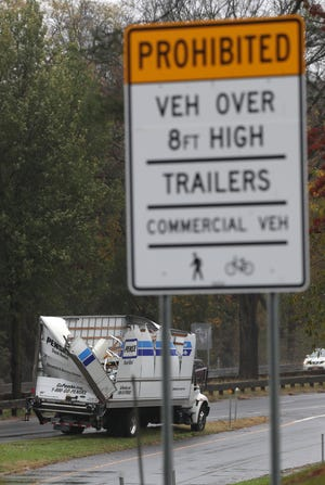 A truck hit the King Street bridge on the Hutchinson River Parkway north in Rye Brook Oct. 31, 2019. There were no injuries.