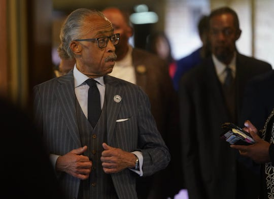 The Rev. Al Sharpton walks through the halls of Ezion Methodist Church in Wilmington on  Thursday, Oct. 31, 2019, while heading to a press conference. There, he commended Delaware Gov. John Carney for his appointment of Court of Chancery Vice Chancellor Tamika Montgomery-Reeves to the Delaware Supreme Court.