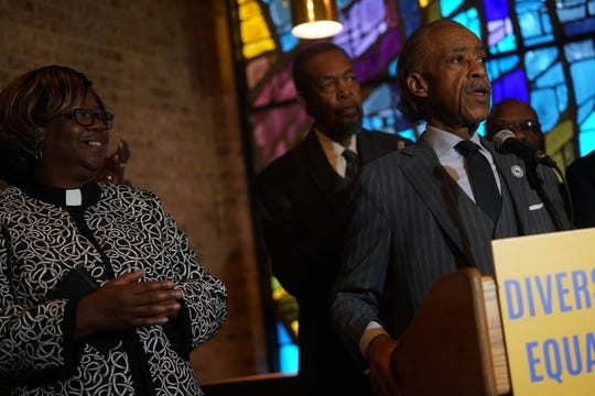 Civil rights activist Reverend Al Sharpton speaks at a press conference at Ezion Methodist Church in Wilmington on Thursday, Oct. 31, 2019, to commend Delaware Gov. John Carney for his appointment of Court of Chancery Vice Chancellor Tamika Montgomery-Reeves to the Delaware Supreme Court.