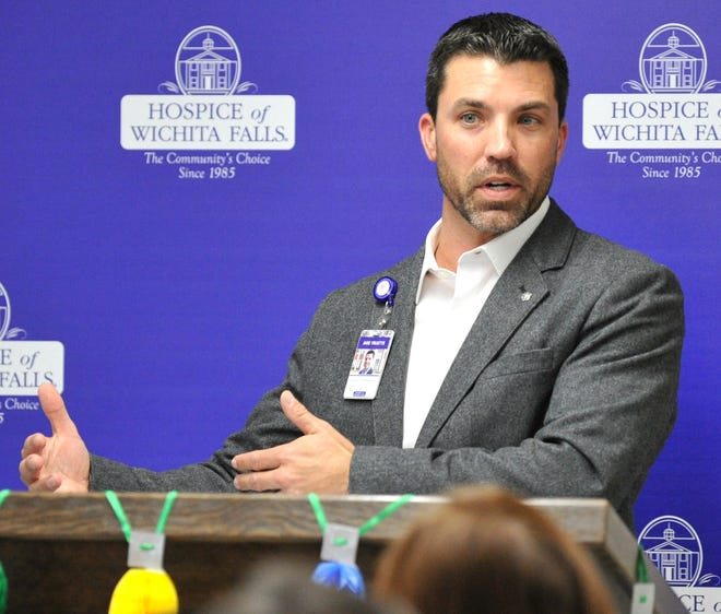Hospice of Wichita Falls, director of development, Jake Truette spoke during a media luncheon kicking-off their 34th annual Tree of Lights Campaign Thursday afternoon.