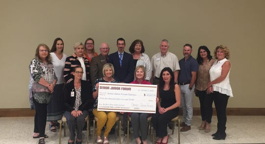 The Senior-Junior Forum distributed more than $45,000.00 earned at the Red River  Wine & Beer Festival to non profit groups and charities in Wichita Falls.  The festival is the largest SJF fundraiser.   Participating in the check presentation(seated from left to right) Michelle Turnbow, First Step Inc.; Shelley Hutchins, SJF Community Service Chair; Annette Barfield, 2018 Co-chair of the RRW&BF; Pamela Hughes,The Kitchen/Meals on Wheels. Standing from left to right Patti Mallow, First Step Inc.; Monica Waddle, Delores Culley, and Nadine McKown, Kell House Museum;  Dr. Anthony Vidmar, MSU Vice President for University Advancement and Public Affairs; Dirk Welch, MSU-Burns Fantasy of Lights; Debbie Berend, SJF President 2017-2018; Brad Prickett, Faith Refuge; Mike Strickland, Special Olympics; Denise Roberts, Patsy's House; Deanna Dockman-Henry, Beacon Lighthouse for the Blind.