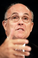 May 5, 2004; New York, NY, USA;  Former NYC mayor Rudolph Giuliani at the National  Commission on Terrorist Attacks Upon The United States in NYC. Mandatory Credit: Robert Deutsch-USA TODAY ORIG FILE ID:  20190930_ajw_usa_038.jpg