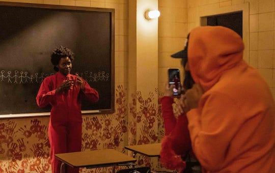 "Lupita Nyong'o returned as Red to the ""Us"" maze at Hollywood Horror Nights."