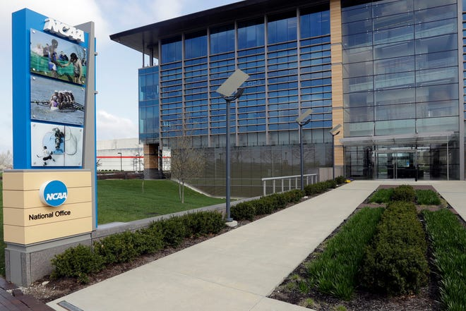 The NCAA headquarters in Indianapolis, In., shown in an April 25, 2018, file photo. On Oct. 29, 2019, the NCAA Board of Governors took the first step toward allowing college athletes to profit from their image and fame.