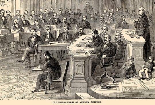 The impeachment of Andrew Johnson was initiated on February 24, 1868.