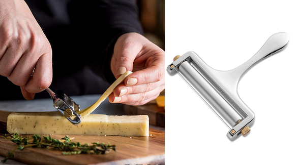 It can slice blocks of cheese up to 3.5 inches wide.