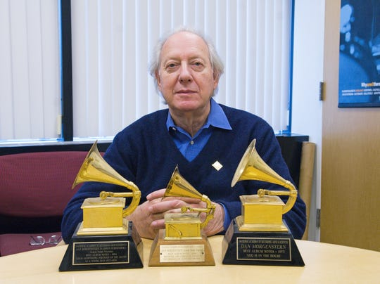 Dan Morgenstern with some of his hardware.