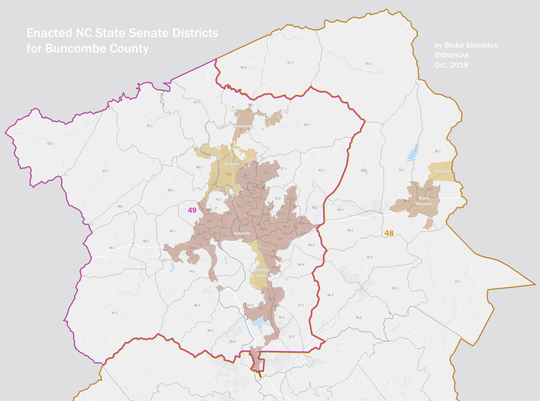 The newly drawn 48th and 49th Senate Districts as approved Oct. 28 by a state court.