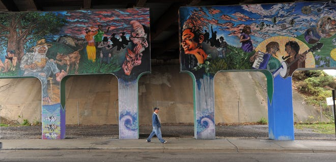 The North Carolina Department of Transportation removed a homeless encampment Feb. 1 from this area on North Lexington Street in Asheville, an underpass of Interstate 240. The area is marked by murals.